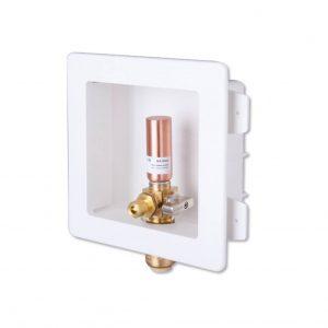 Dishwasher outlet box with valve and hammer arrestor